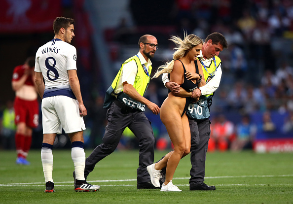 Naked girls run on to the field Busty Blonde Pitch Invader Wearing Tiny Swimsuit Stops Champions League Final And Is Escorted Off By Security